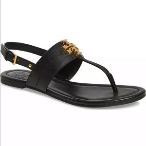 Tory burch everly t strap sandals black Sz 7.5